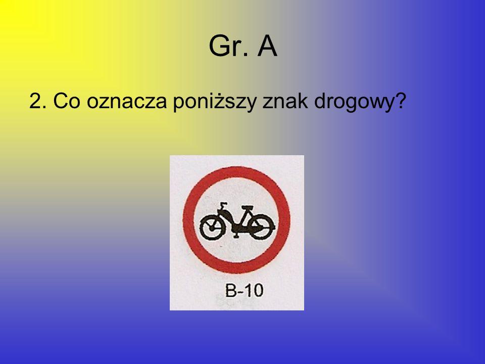 Gr. A 2. Co oznacza poniższy znak drogowy?