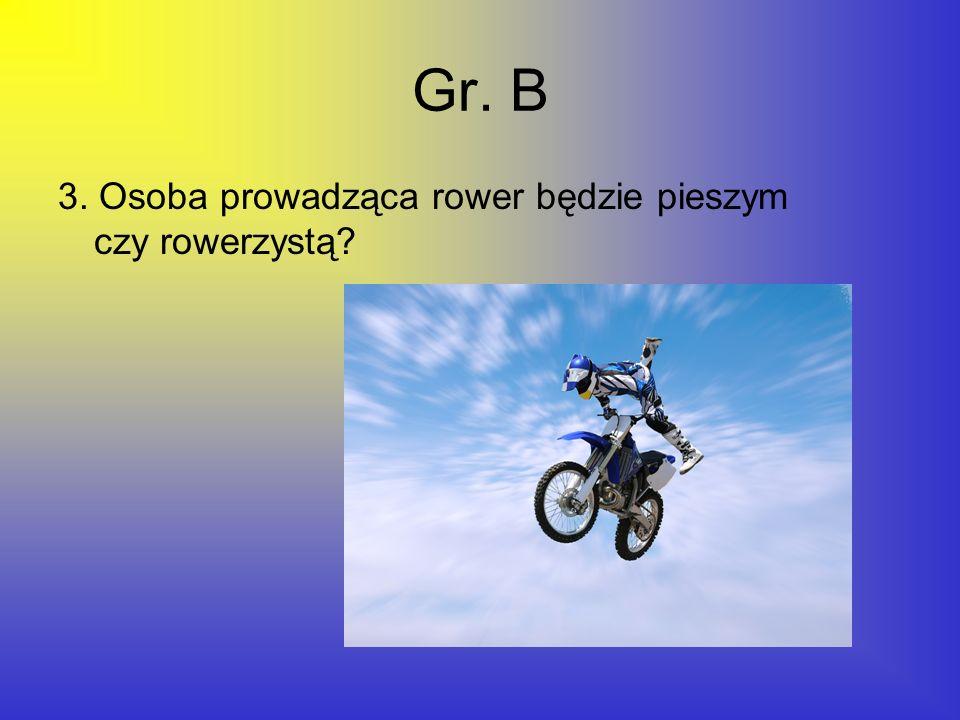Gr. B 3. Osoba prowadząca rower będzie pieszym czy rowerzystą?