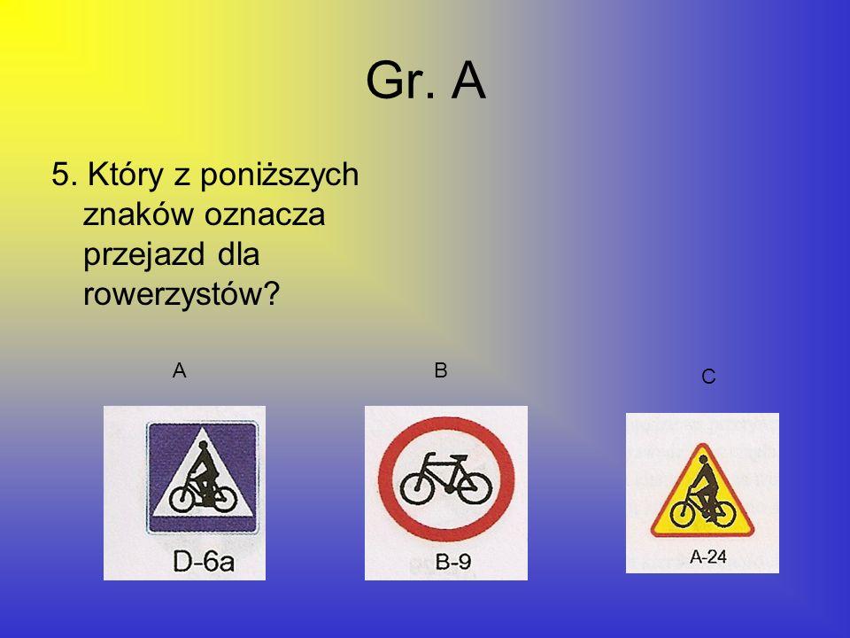 Gr. A 5. Który z poniższych znaków oznacza przejazd dla rowerzystów? AB C