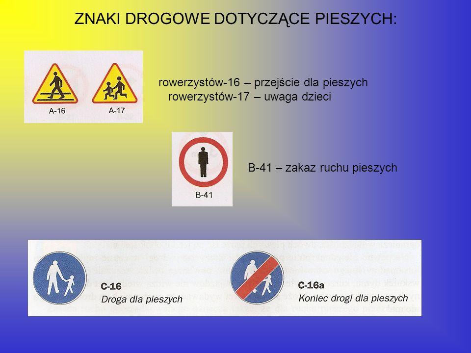 ZNAKI DROGOWE DOTYCZĄCE PIESZYCH: rowerzystów-16 – przejście dla pieszych rowerzystów-17 – uwaga dzieci B-41 – zakaz ruchu pieszych