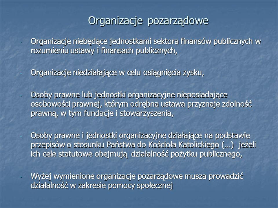 Organizacje pozarządowe - Organizacje niebędące jednostkami sektora finansów publicznych w rozumieniu ustawy i finansach publicznych, - Organizacje ni