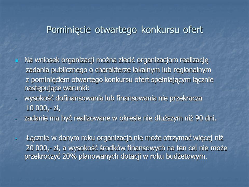Pominięcie otwartego konkursu ofert Na wniosek organizacji można zlecić organizacjom realizację Na wniosek organizacji można zlecić organizacjom reali