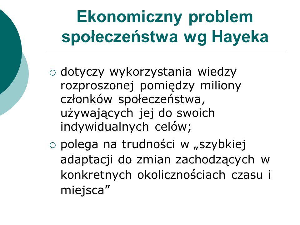 Ekonomiczny problem społeczeństwa wg Hayeka dotyczy wykorzystania wiedzy rozproszonej pomiędzy miliony członków społeczeństwa, używających jej do swoi