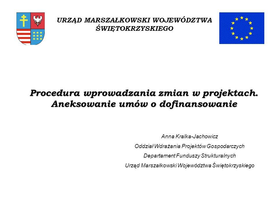1/ Zmiany dotyczące projektu powinny być zgłoszone pisemnie do Instytucji Zarządzającej RPOWŚ (Urzędu Marszałkowskiego) przed ich faktycznym wprowadzeniem, za wyjątkiem: - zmiany numeru rachunku bankowego (wskazanego w § 1 umowy o dofinansowanie) - zmian teleadresowych, bądź - nazwy Beneficjenta.