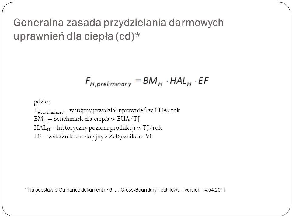 Generalna zasada przydzielania darmowych uprawnień dla ciepła (cd)* gdzie: F H,preliminary – wst ę pny przydział uprawnie ń w EUA/rok BM H – benchmark