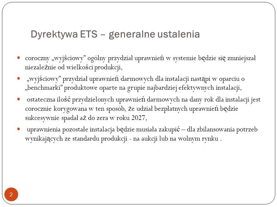 Dyrektywa ETS – generalne ustalenia 2 coroczny wyj ś ciowy ogólny przydział uprawnie ń w systemie b ę dzie si ę zmniejszał niezale ż nie od wielko ś c