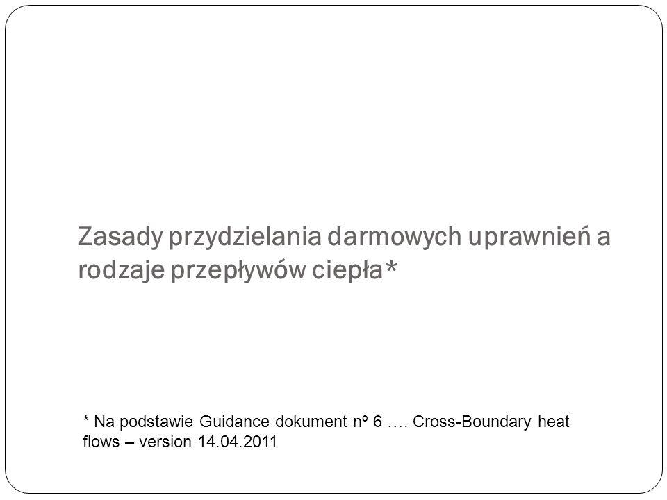 Zasady przydzielania darmowych uprawnień a rodzaje przepływów ciepła* * Na podstawie Guidance dokument nº 6 …. Cross-Boundary heat flows – version 14.