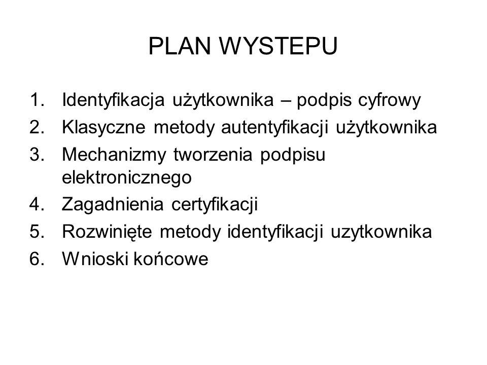 PLAN WYSTEPU 1.Identyfikacja użytkownika – podpis cyfrowy 2.Klasyczne metody autentyfikacji użytkownika 3.Mechanizmy tworzenia podpisu elektronicznego