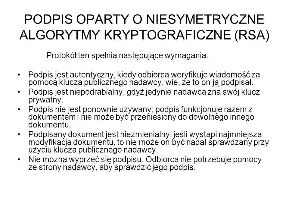 PODPIS OPARTY O NIESYMETRYCZNE ALGORYTMY KRYPTOGRAFICZNE (RSA) Protokół ten spełnia następujące wymagania: Podpis jest autentyczny, kiedy odbiorca wer