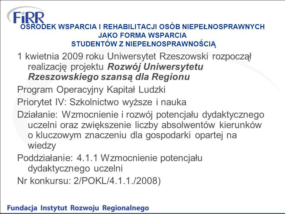 OŚRODEK WSPARCIA I REHABILITACJI OSÓB NIEPEŁNOSPRAWNYCH JAKO FORMA WSPARCIA STUDENTÓW Z NIEPEŁNOSPRAWNOŚCIĄ 1 kwietnia 2009 roku Uniwersytet Rzeszowsk