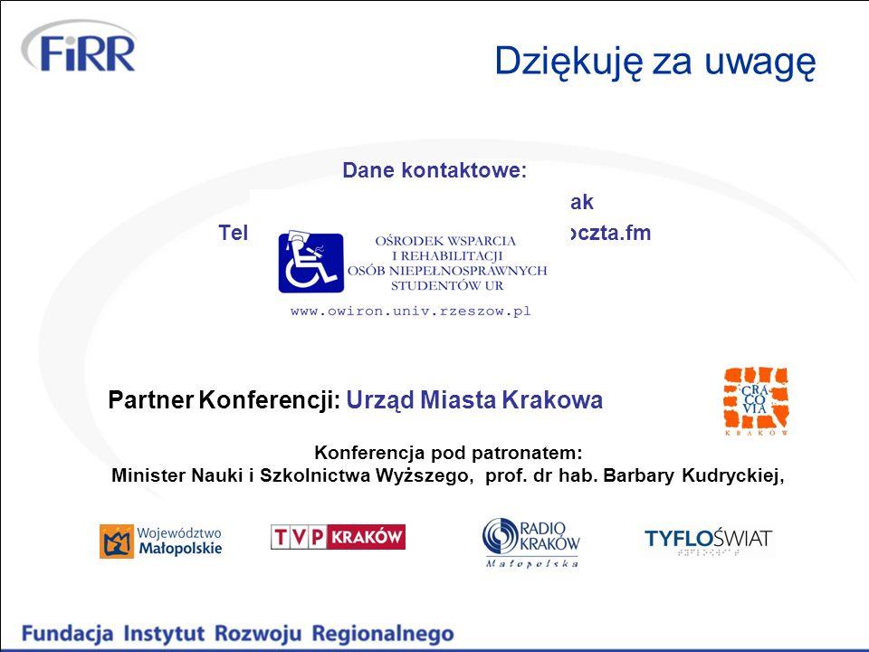 Dziękuję za uwagę Dane kontaktowe: Małgorzata Zaborniak-Sobczak Tel. 728 991 512, mail: gosiazs@poczta.fm Partner Konferencji: Urząd Miasta Krakowa Ko