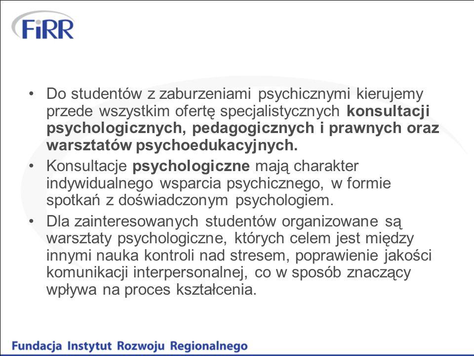 Do studentów z zaburzeniami psychicznymi kierujemy przede wszystkim ofertę specjalistycznych konsultacji psychologicznych, pedagogicznych i prawnych o
