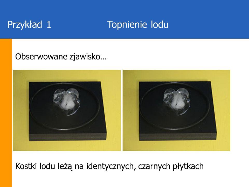 Przykład 1Topnienie lodu Obserwowane zjawisko… Kostki lodu leżą na identycznych, czarnych płytkach