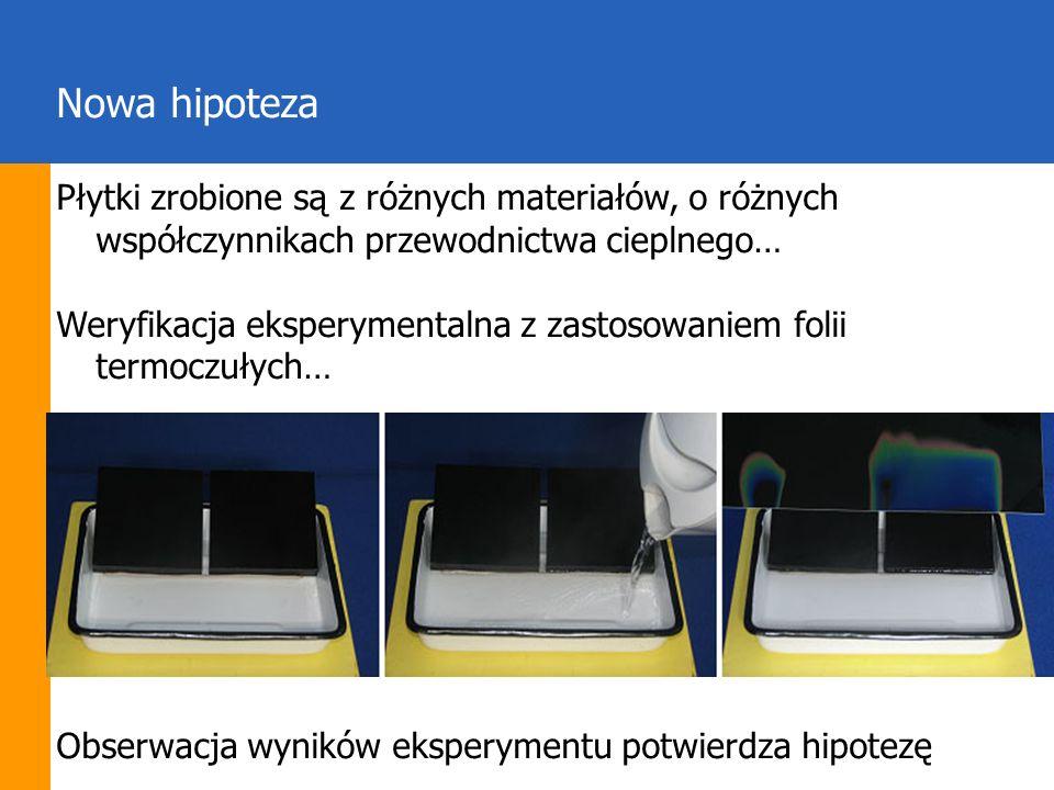 Nowa hipoteza Płytki zrobione są z różnych materiałów, o różnych współczynnikach przewodnictwa cieplnego… Weryfikacja eksperymentalna z zastosowaniem