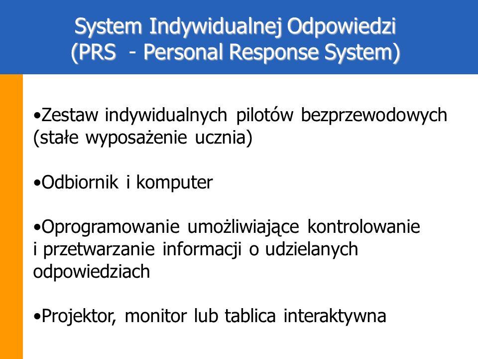 Zestaw indywidualnych pilotów bezprzewodowych (stałe wyposażenie ucznia) Odbiornik i komputer Oprogramowanie umożliwiające kontrolowanie i przetwarzan