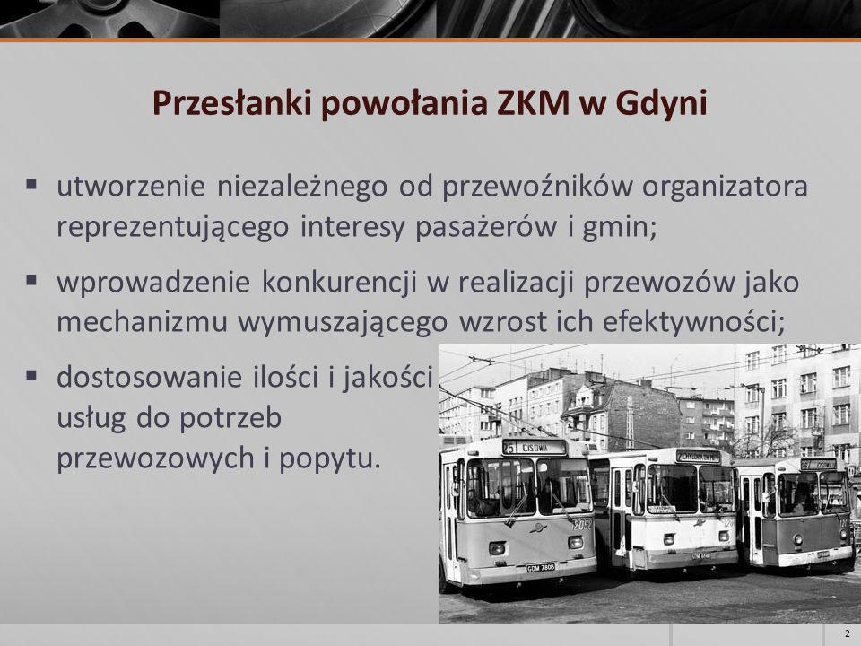 Przesłanki powołania ZKM w Gdyni utworzenie niezależnego od przewoźników organizatora reprezentującego interesy pasażerów i gmin; wprowadzenie konkure