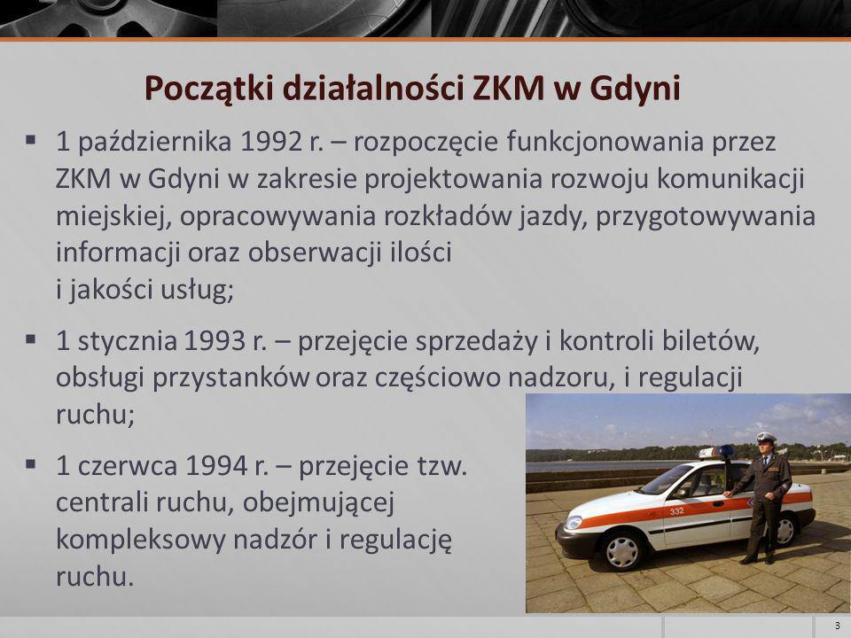 Początki działalności ZKM w Gdyni 1 października 1992 r. – rozpoczęcie funkcjonowania przez ZKM w Gdyni w zakresie projektowania rozwoju komunikacji m