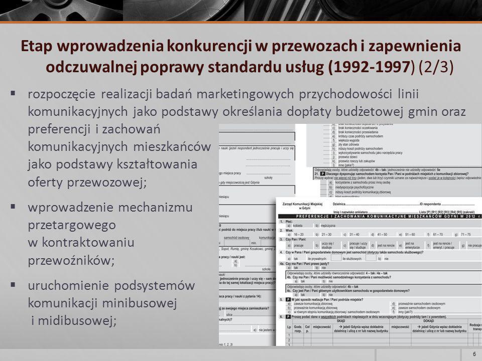 Etap wprowadzenia konkurencji w przewozach i zapewnienia odczuwalnej poprawy standardu usług (1992-1997) (3/3) wprowadzenie skoordynowanych rozkładów jazdy zbudowanych z wykorzystaniem tabeli następstw czasowych; zainstalowanie nowoczesnych wiat przystankowych przez firmy reklamowe; uruchomienie nowej trasy trolejbusowej do Pustek Cisowskich.