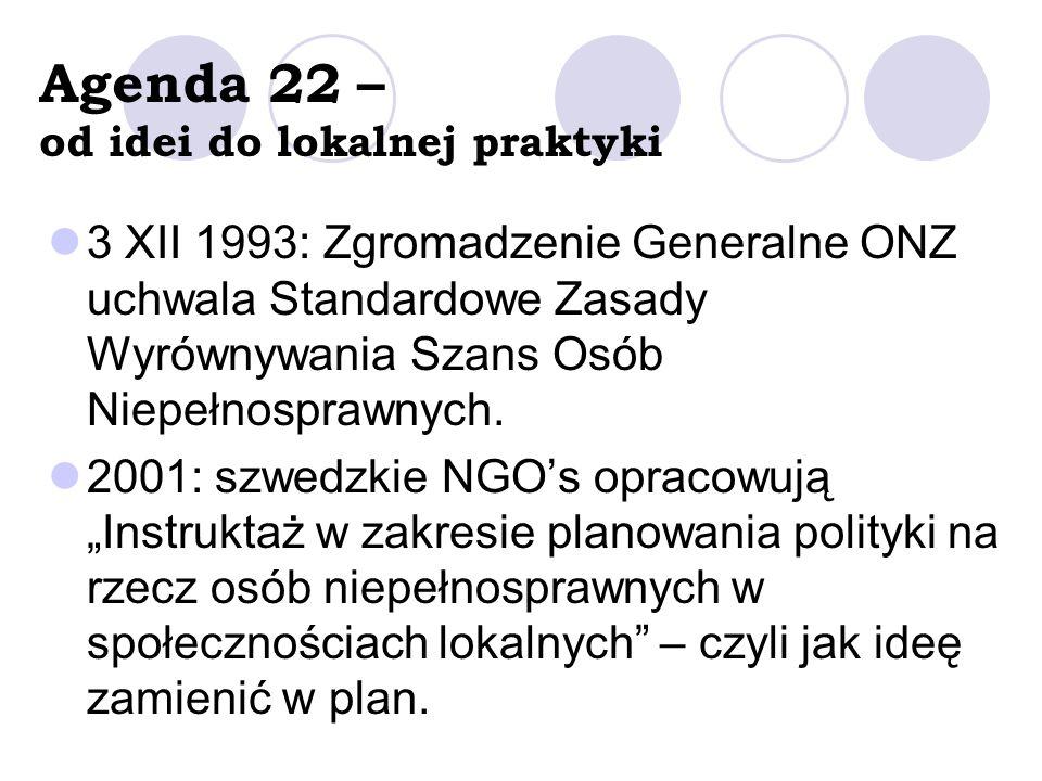 Agenda 22 – od idei do lokalnej praktyki 3 XII 1993: Zgromadzenie Generalne ONZ uchwala Standardowe Zasady Wyrównywania Szans Osób Niepełnosprawnych.