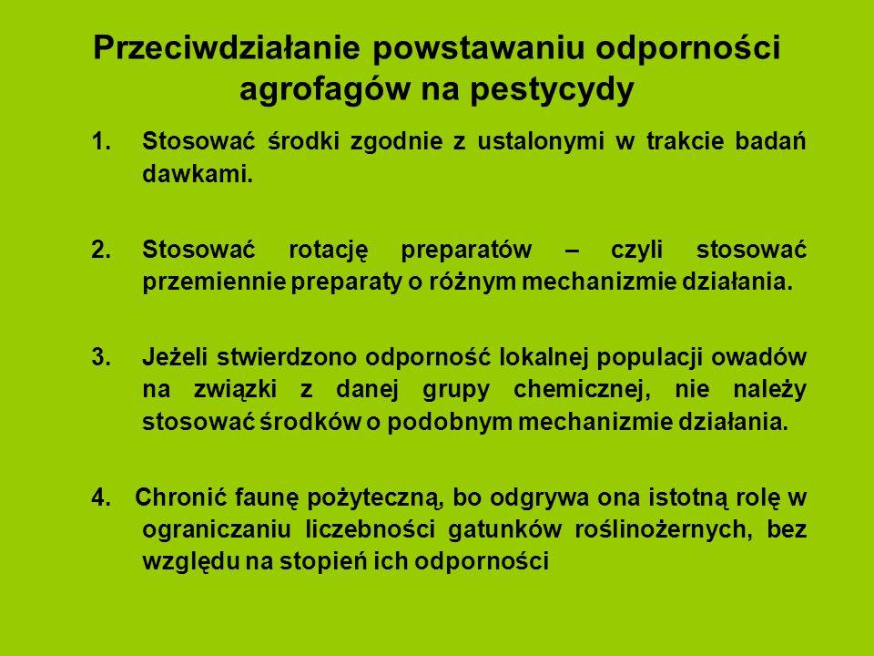 Przeciwdziałanie powstawaniu odporności agrofagów na pestycydy 1.Stosować środki zgodnie z ustalonymi w trakcie badań dawkami. 2.Stosować rotację prep