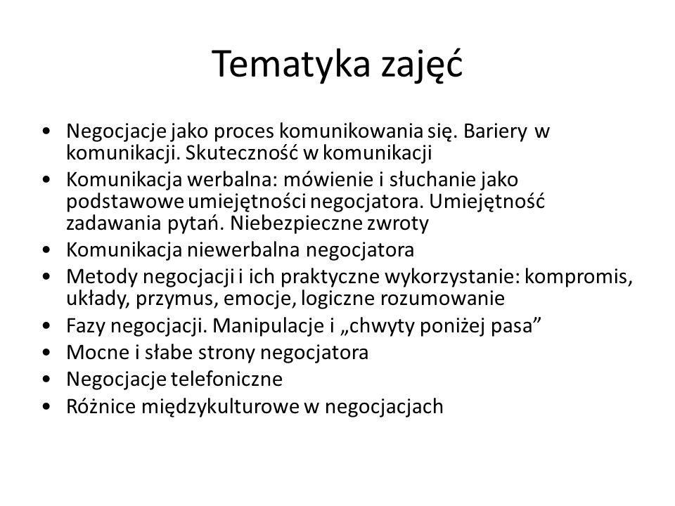 Tematyka zajęć Negocjacje jako proces komunikowania się. Bariery w komunikacji. Skuteczność w komunikacji Komunikacja werbalna: mówienie i słuchanie j