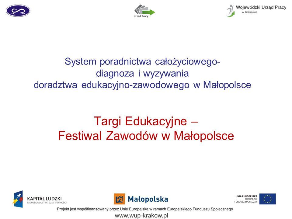 System poradnictwa całożyciowego- diagnoza i wyzywania doradztwa edukacyjno-zawodowego w Małopolsce Targi Edukacyjne – Festiwal Zawodów w Małopolsce