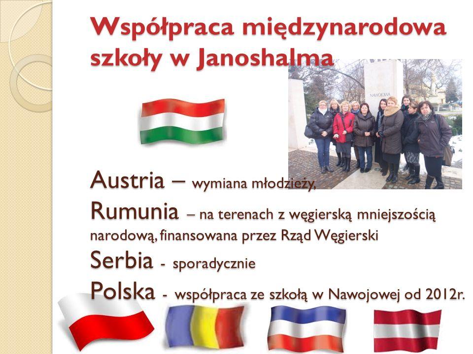 Współpraca międzynarodowa szkoły w Janoshalma Austria – wymiana młodzieży, Rumunia – na terenach z węgierską mniejszością narodową, finansowana przez