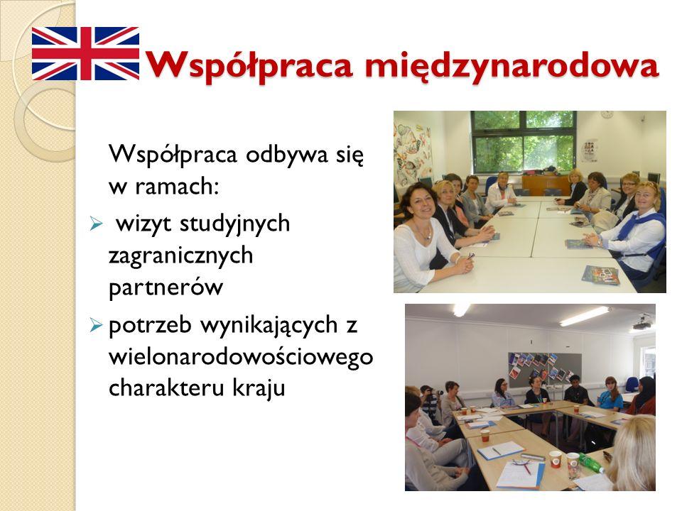 Współpraca międzynarodowa Współpraca odbywa się w ramach: wizyt studyjnych zagranicznych partnerów potrzeb wynikających z wielonarodowościowego charak