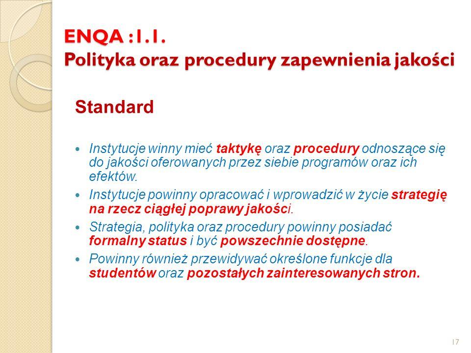 ENQA :1.1. Polityka oraz procedury zapewnienia jakości Standard Instytucje winny mieć taktykę oraz procedury odnoszące się do jakości oferowanych prze