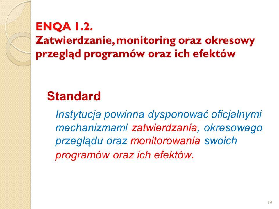ENQA 1.2. Zatwierdzanie, monitoring oraz okresowy przegląd programów oraz ich efektów Standard Instytucja powinna dysponować oficjalnymi mechanizmami
