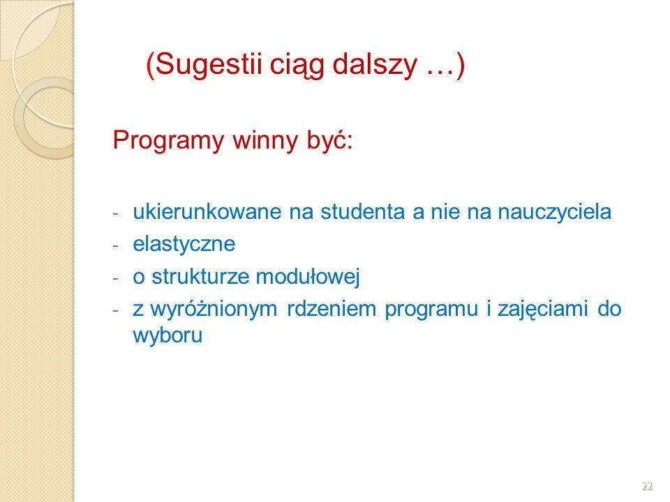 22 (Sugestii ciąg dalszy …) Programy winny być: - ukierunkowane na studenta a nie na nauczyciela - elastyczne - o strukturze modułowej - z wyróżnionym