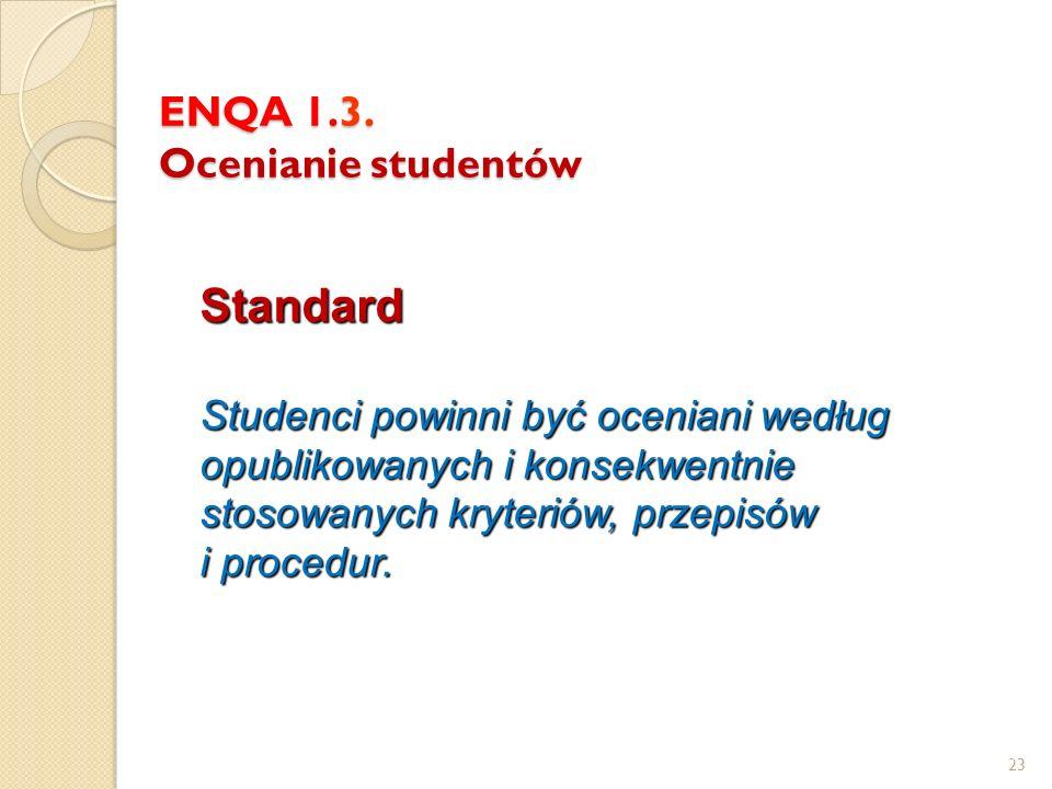 ENQA 1.3. Ocenianie studentów Standard Studenci powinni być oceniani według opublikowanych i konsekwentnie stosowanych kryteriów, przepisów i procedur