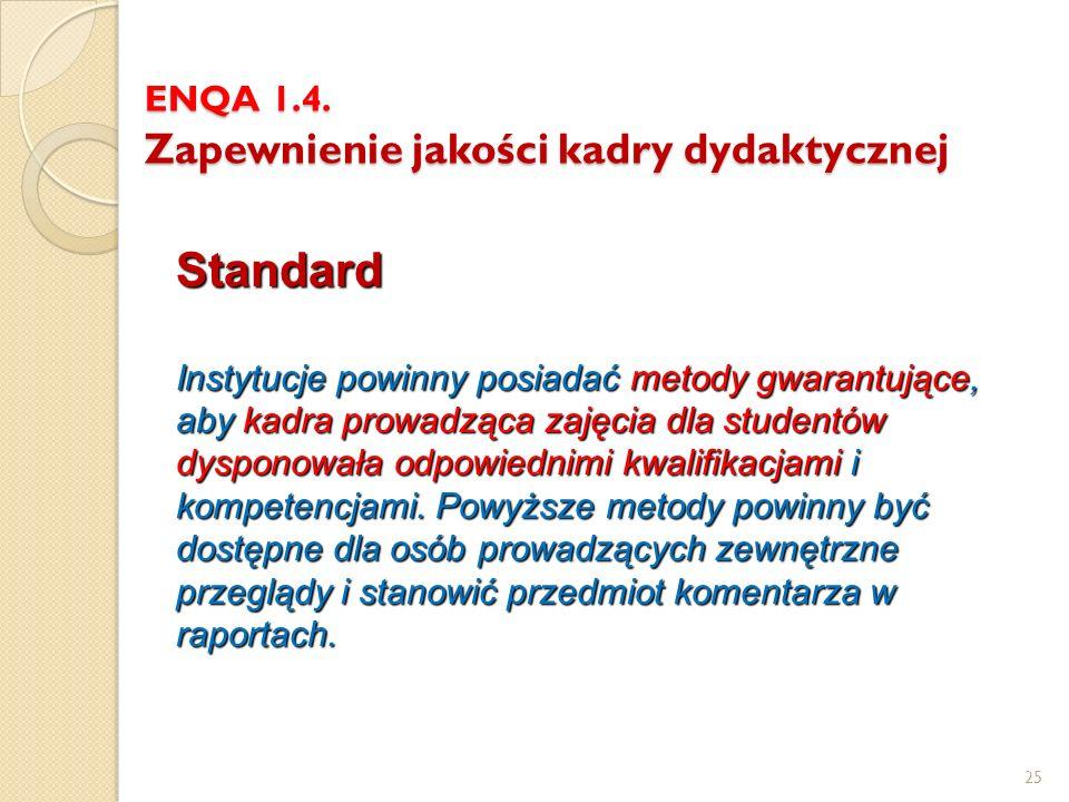 ENQA 1.4. Zapewnienie jakości kadry dydaktycznej Standard Instytucje powinny posiadać metody gwarantujące, aby kadra prowadząca zajęcia dla studentów