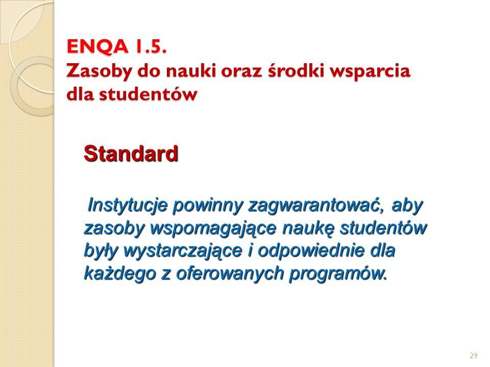 29 ENQA 1.5. Zasoby do nauki oraz środki wsparcia dla studentów Standard Instytucje powinny zagwarantować, aby zasoby wspomagające naukę studentów był