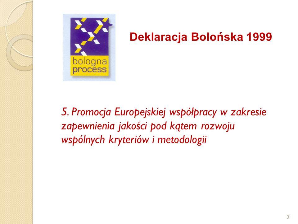 Deklaracja Bolońska 1999 5. Promocja Europejskiej współpracy w zakresie zapewnienia jakości pod kątem rozwoju wspólnych kryteriów i metodologii 3