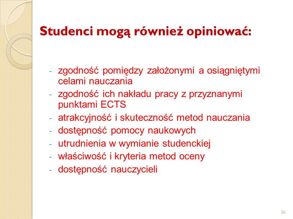 36 Studenci mogą również opiniować: - zgodność pomiędzy założonymi a osiągniętymi celami nauczania - zgodność ich nakładu pracy z przyznanymi punktami