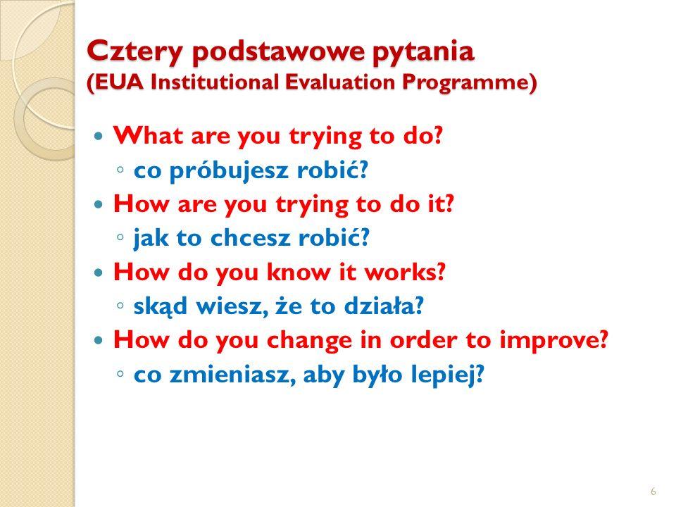Cztery podstawowe pytania (EUA Institutional Evaluation Programme) What are you trying to do? co próbujesz robić? How are you trying to do it? jak to
