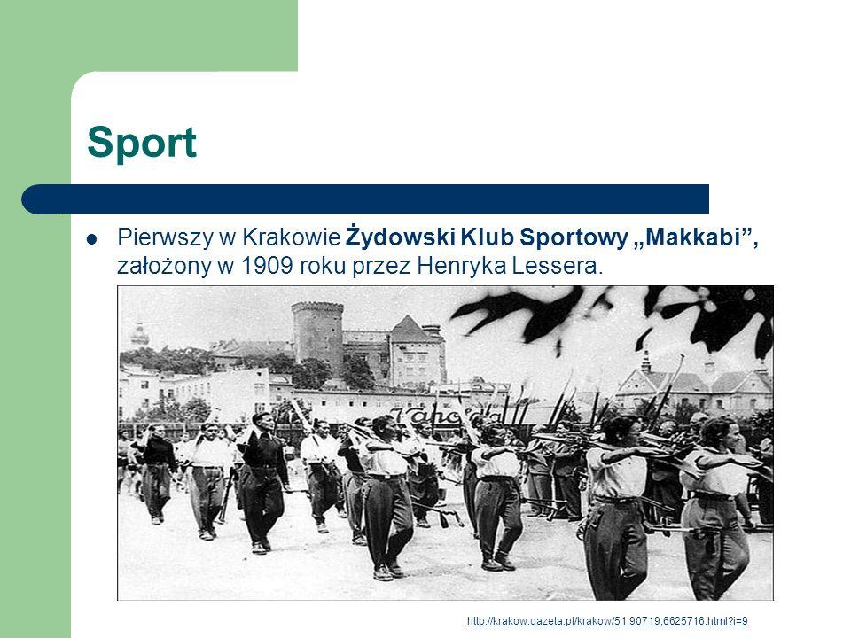 Sport Pierwszy w Krakowie Żydowski Klub Sportowy Makkabi, założony w 1909 roku przez Henryka Lessera. http://krakow.gazeta.pl/krakow/51,90719,6625716.