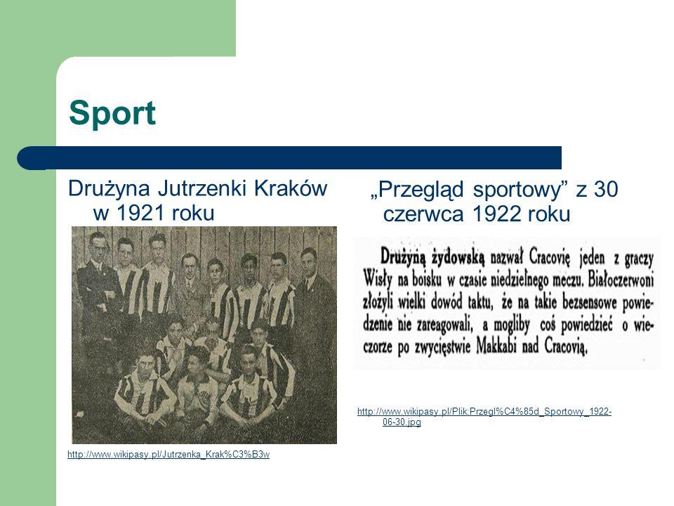 Sport Drużyna Jutrzenki Kraków w 1921 roku http://www.wikipasy.pl/Jutrzenka_Krak%C3%B3w Przegląd sportowy z 30 czerwca 1922 roku http://www.wikipasy.p