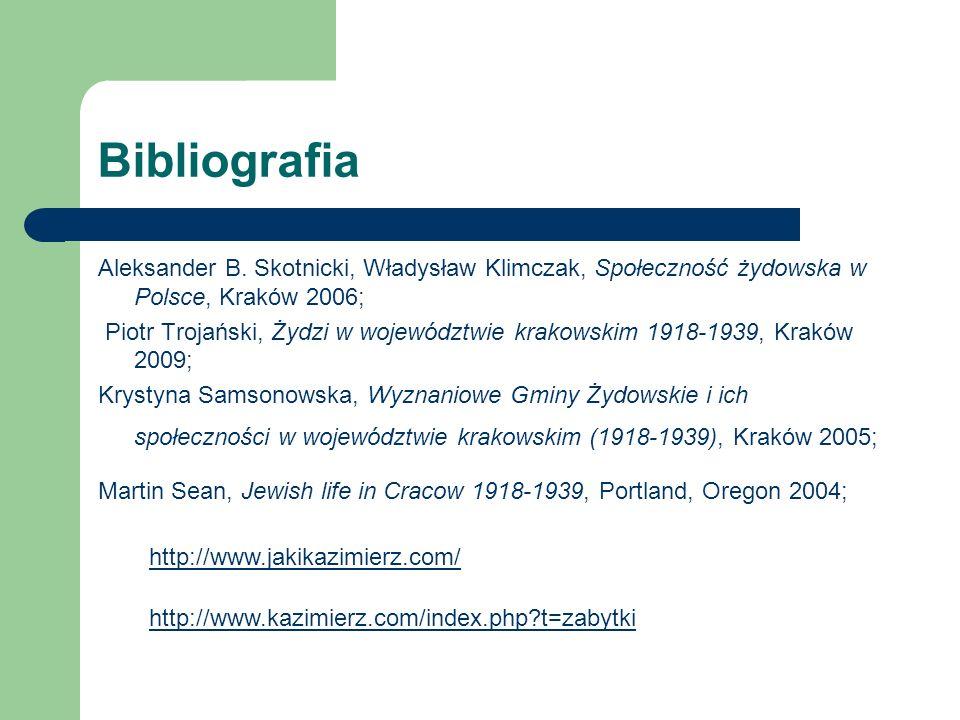 Bibliografia Aleksander B. Skotnicki, Władysław Klimczak, Społeczność żydowska w Polsce, Kraków 2006; Piotr Trojański, Żydzi w województwie krakowskim