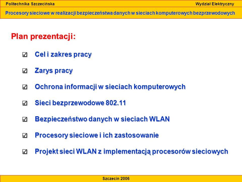 Procesory sieciowe w realizacji bezpieczeństwa danych w sieciach komputerowych bezprzewodowych Politechnika Szczecińska Wydział Elektryczny Szczecin 2006 Procesory sieciowe i ich zastosowanie Porównanie układów specjalizowanych Złożoność aplikacji w funkcji wymagań przetwarzania pakietów