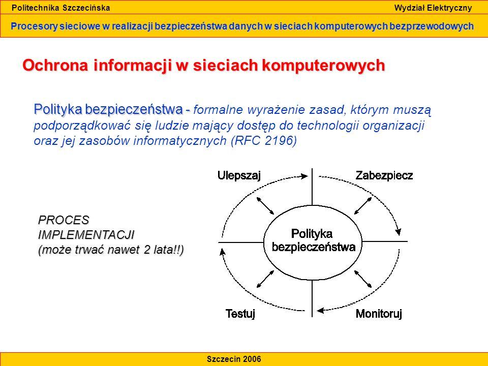 Procesory sieciowe w realizacji bezpieczeństwa danych w sieciach komputerowych bezprzewodowych Politechnika Szczecińska Wydział Elektryczny Szczecin 2006 Ochrona informacji w sieciach komputerowych Model AAA (ang.