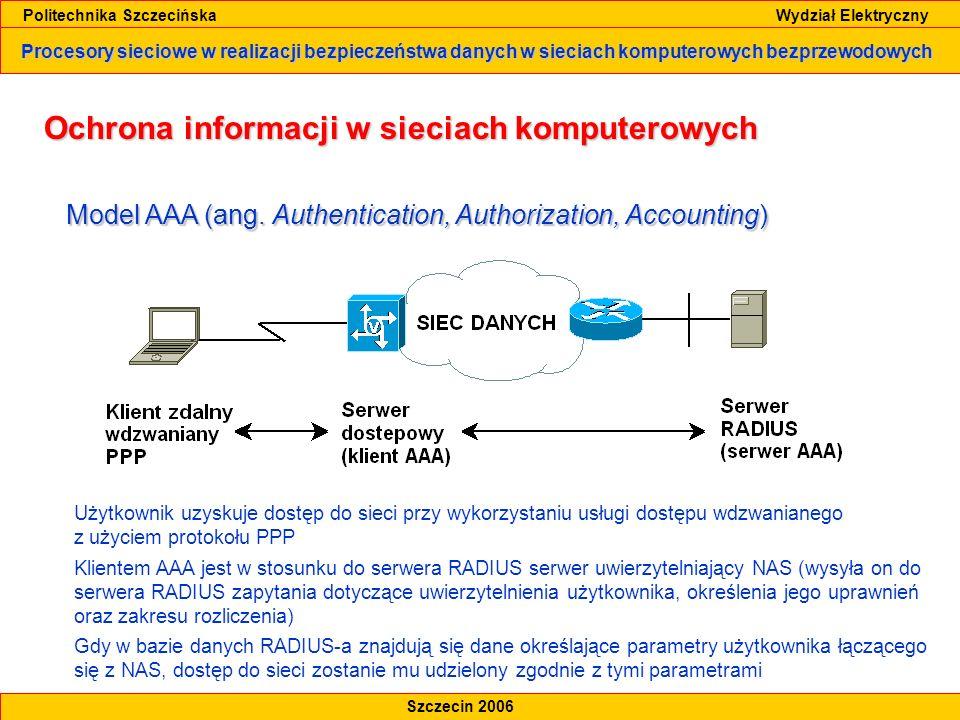 Procesory sieciowe w realizacji bezpieczeństwa danych w sieciach komputerowych bezprzewodowych Politechnika Szczecińska Wydział Elektryczny Szczecin 2006 Projekt sieci WLAN z implementacją procesorów sieciowych Topologialogiczna