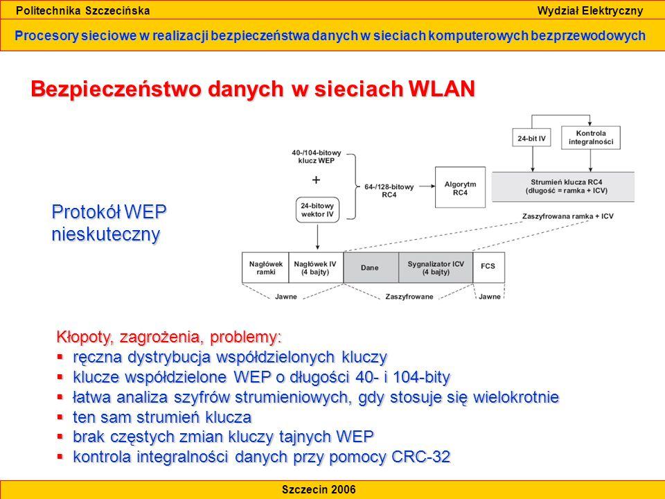 Procesory sieciowe w realizacji bezpieczeństwa danych w sieciach komputerowych bezprzewodowych Politechnika Szczecińska Wydział Elektryczny Szczecin 2006 Bezpieczeństwo danych w sieciach WLAN Mechanizmy bezpieczeństwa standardu IEEE 802.11i-2004