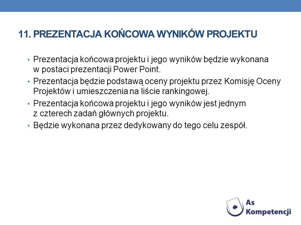 11.PREZENTACJA KOŃCOWA WYNIKÓW PROJEKTU Prezentacja końcowa projektu i jego wyników będzie wykonana w postaci prezentacji Power Point. Prezentacja będ