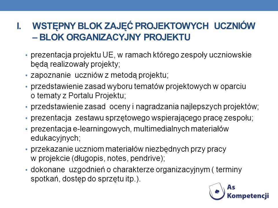 I.WSTĘPNY BLOK ZAJĘĆ PROJEKTOWYCH UCZNIÓW – BLOK ORGANIZACYJNY PROJEKTU prezentacja projektu UE, w ramach którego zespoły uczniowskie będą realizowały