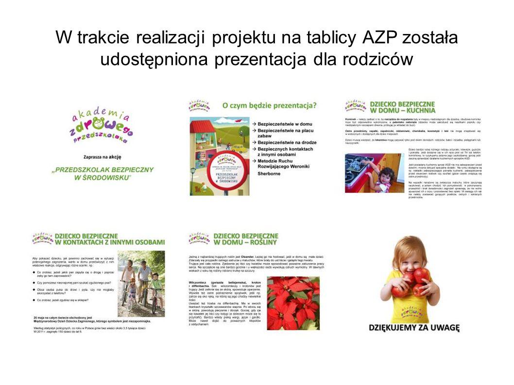W trakcie realizacji projektu na tablicy AZP została udostępniona prezentacja dla rodziców
