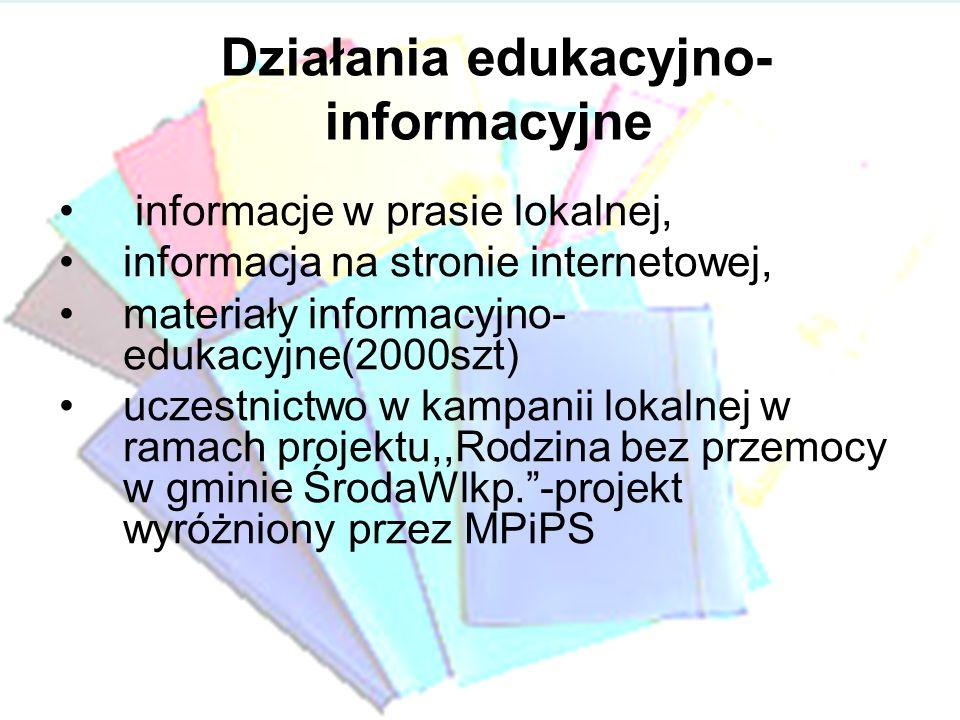 Działania edukacyjno- informacyjne informacje w prasie lokalnej, informacja na stronie internetowej, materiały informacyjno- edukacyjne(2000szt) uczes