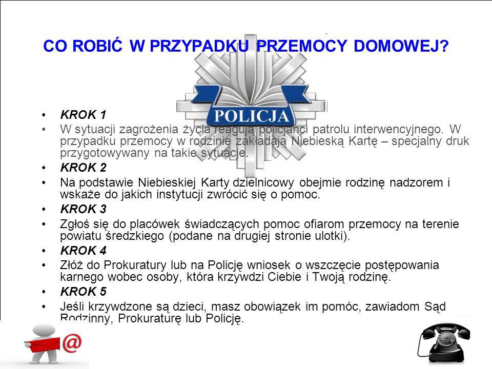 KROK 1 W sytuacji zagrożenia życia reagują policjanci patrolu interwencyjnego. W przypadku przemocy w rodzinie zakładają Niebieską Kartę – specjalny d
