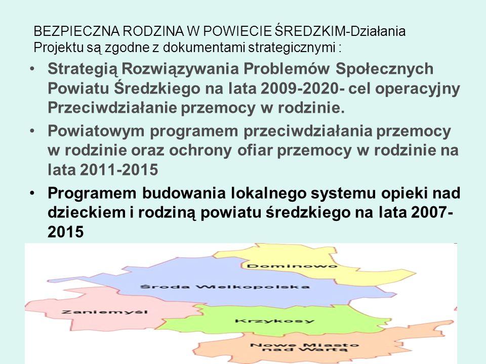 BEZPIECZNA RODZINA W POWIECIE ŚREDZKIM-Działania Projektu są zgodne z dokumentami strategicznymi : Strategią Rozwiązywania Problemów Społecznych Powia